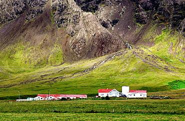 Small farm near the coast of Atlantic Ocean, Western Regions, Iceland