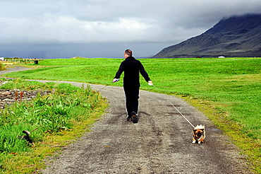 Empty path along seaside close to Akranes, Western Regions, Iceland