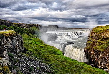 Gullfoss Waterfall, Hvita river, Haukadalur, Southern Iceland, Iceland, Arctic regions
