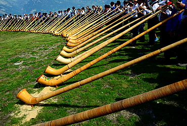 International Alphorn Festival, July 2013, Nendaz, canton Valais, canton Wallis, Switzerland.