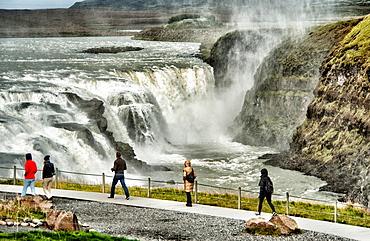 Gullfoss Waterfall, Hvita river, Hvita-Fluss , Haukadalur, southern Iceland, Iceland, Arctic regions.