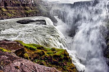 Gullfoss Waterfall, Hvita-Fluss, Haukadalur, southern Iceland, Iceland, Arctic regions.