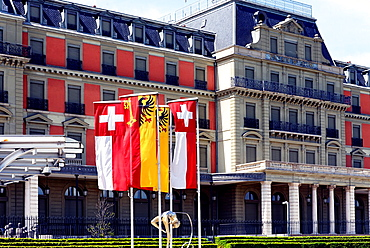 Palais Wilson presentable building facing Lake Geneva, was headquarters of the League of Nations, currently headquarters of United Nations High Commissioner for Human Rights, named after U.S. President Woodrow Wilson, who was instrumental to the foundatio