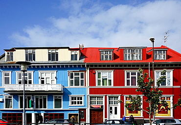 colorful facades of buildings, old town of Reykjavik, Iceland.