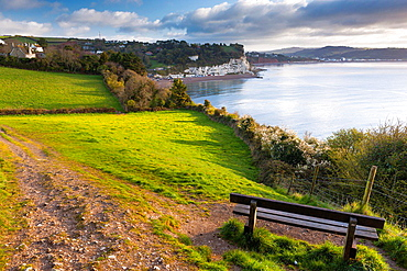View from path, Beer to Branscombe, towards of Beer and Seaton, Devon, UK, Europe.