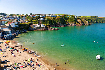 The beach in the unspoilt fishing village of Gorran Haven in Cornwall, England, United Kingdom, Europe.