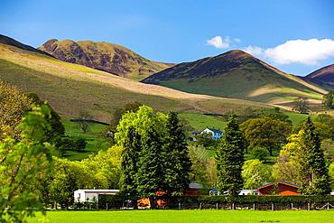 View towards Braithwaite Village, Lake District National Park, Cumbria, England, UK, Europe.