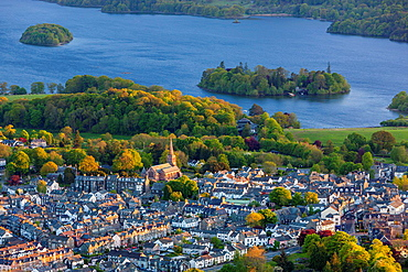 Keswick and Derwent Water from Latrigg Fell, Lake District National Park, Cumbria, England, UK, Europe.