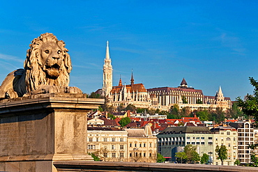 View from Szechenyi Chain Bridge of the Fishermen's Bastion, a neo-Romanesque monument. Built from 1895 to 1902, by Frigyes Schulek. It stands on the Castle Hill on the site of the medieval fish market of Buda. At the left side is the Matthias Church, the most famous Church in Budapest, Hungary, Europe.