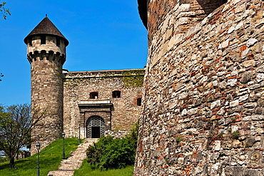Ferdinands gate and Buzogany torony tower at south round bastion of the Buda Castle on Castle Hill in the Castle District Budapest, Hungary, Europe