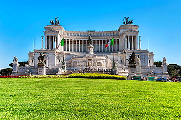 The Monumento Nazionale a Vittorio Emanuele II is a national monument in Rome. It was inaugurated in 1911 for the Universal Exhibition in Rome but not completed until 1927, Rome, Lazio, Italy, Europe.