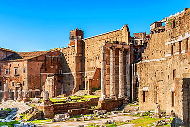 The Forum of Trajan is the largest and best preserved Roman Forum. Behind the Forum of Trajan is Trajan's Market, Rome, Lazio, Italy, Europe.