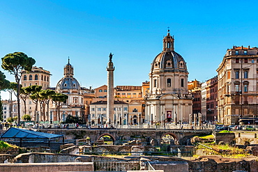 View over Trajan's Forum Forum Traiani to Santa Maria di Loretto left and The Church of the Most Holy Name of Mary at the Trajan Forum right, two churches twin churches in the historic center of Rome. The Trajan's column is located between the churches, Rome, Lazio, Italy, Europe.