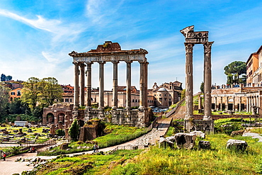Roman Forum with the Temple of Saturn and the remaining columns of the Temple of Vespasian right, Rome, Lazio, Italy, Europe.