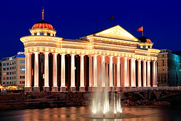 Archaeological Museum at Night, Macedonia.