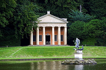 Studley Royal Gardens, water garden, for John Aislabie, 1718, River Skell, Temple of Piety, Moon Pond, North Yorkshire, UK