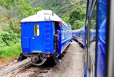 View of the train to Machu Picchu,Peru,South America.