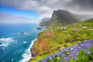 Cliff coastline near Ponta Delgada, Madeira, Portugal.