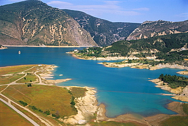 Aerial view of Mediano lake (Embalse de Mediano), Aragon, Spain, Note the clock tower of the old submerged village.