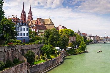 Basler Munster cathedral on Rhine riverside, Basel, Switzerland.