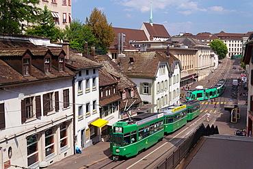 Tram in Steinenberg street, Basel, Switzerland.