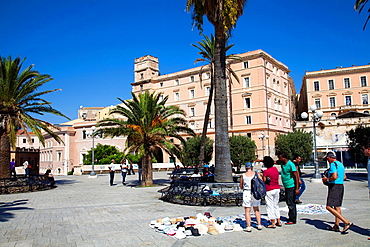 Tourists on Bastioni di St. Remy in Cagliari in Sardinia.
