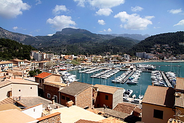 Marina Puerto de Soller Port of Mallorca with boats in Balearic island, Spain.