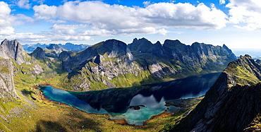 View towards Kjerkfjorden and mountains of Moskenesoy, Lofoten Islands, Norway.