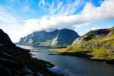 View towards Vindstad and Bunesfjord, Moskenesoy, Lofoten Islands, Norway.