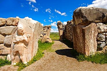 Photo of the Hittite releif sculpture on the Kings gate to the Hittite capital Hattusa 12.