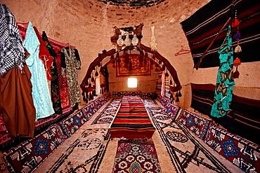 Interior of a beehive shaped adobe buildings of Harran, south west Anatolia, Turkey. Harran was a major ancient city in Upper Mesopotamia Turkey, 24 miles 44 kilometers southeast of Urfa.