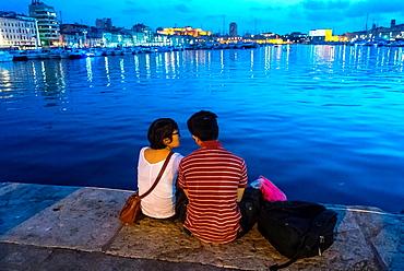 Marseille, France, Tourists Visiting Vieux Port area, Street Scenes.