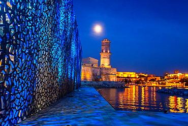 Marseille, France, Modern Architecture, MUCEM Building, 'Musee des Civilisations de l'Europe et de la Meditarranee', Museum,, South of France ,(Credit Architect: 'Rudy Riciotti') Fort Saint Jean, Night.