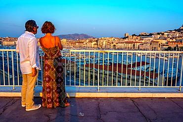 Marseille, France, Tourist Couple Visiting Overview of Vieux Port area, Cityscapes