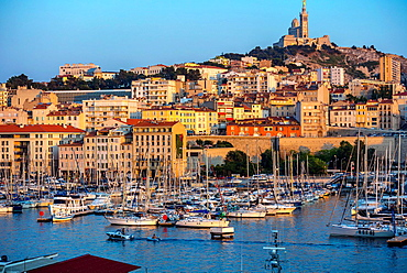 Marseille, France, Cityscape, Vieux Port area, with Boats.