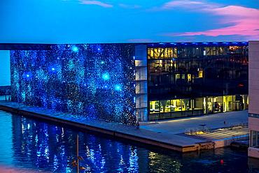 Marseille, France, Modern Architecture, MUCEM Building, 'Musee des Civilisations de l'Europe et de la Mediterranee', South of France, (Credit Architect: 'Rudy Riciotti'), Night View, Mediterranean Coast.