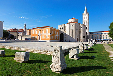 Roman forum with Sv Donat and Sv Stosija, Zadar, Croatia.