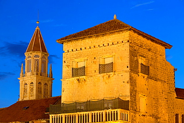 old town with St. Nicholas at night, Trogir, Croatia.