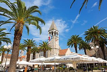 monastery St. Dominik with palms, Trogir, Croatia.
