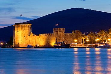 Kamerlengo castle at night, Trogir, Croatia.