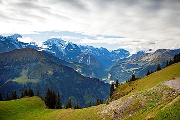 Landscape view of Jungfrau massif from Schynige Platte Station. Interlaken, Canton of Bern, Switzerland, Europe.