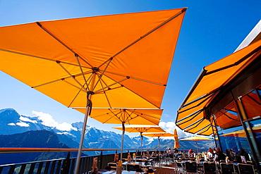 Schynige Restaurant Terrace Platte with a view to Jungfrau. Interlaken, Canton of Bern, Switzerland, Europe.