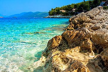 Adriatic sea coastline in Prigradica village, Korcula island, Croatia.