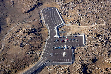 Aerial of Parking lot close to Dettifoss Waterfalls, Iceland.