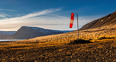 Wind sock by landing strip, Snaefellsnes Peninsula, Iceland.