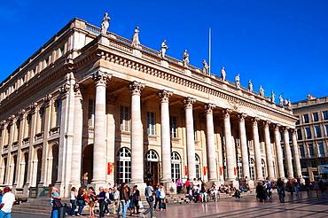 Le Grand Theatre, Place de la Comedie, Bordeaux, UNESCO World Heritage Site, Bordeaux, Gironde, Aquitaine, France, Europe.