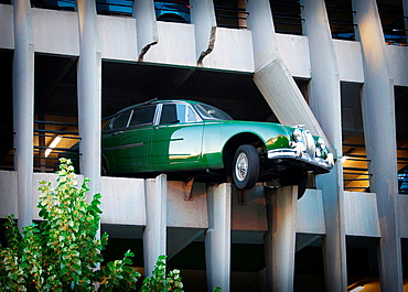 Modern art on the facade of 'Parking Victor Hugo' at Bordeaux, Gironde, Aquitaine, France, Europe.