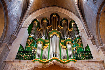 Organ 'Sainte Croix' church, (former Benedictine XIIc. cluster), Bordeaux, Gironde, Aquitaine, France, Europe.