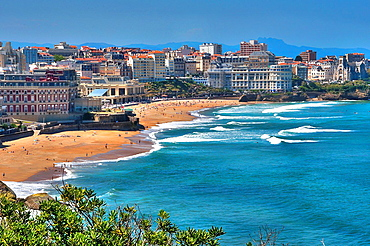 The Hotel du Palais in the Great Beach of Biarritz and Congress Center in the background, Basque Coast, Biarritz, Aquitaine, Basque Country, Pyrenees-Atlantiques, 64, France.