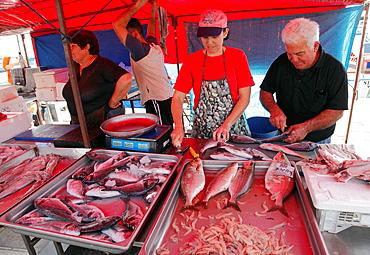 Malta, Marsaxlokk, fish market.